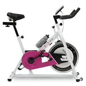 Bicicleta de Spinning Rose de Cecotec. Pantalla LCD, Resistencia variable. Amortiguador. Completamente regulable. Ruedas transporte. Portabidones con bidón.
