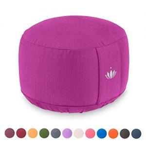 Lotuscrafts Cojín de Meditación LOTUS Alto, (Al: 20 cm), algodón orgánico, certificado por GOTS (Purple)