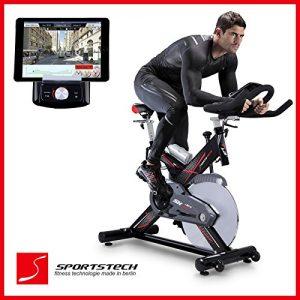 Sportstech SX400 bicicleta estática profesional con App control para Smartphone + Street View, disco de inercia de 22Kg - Bicicleta estática de calidad profesional con sistema por correa de bajo ruido