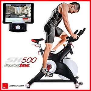 Sportstech SX500 bicicleta estática profesional con App control para Smartphone + Street View, disco de inercia de 25Kg - Bicicleta estática de calidad profesional con sistema SPD pedal de click