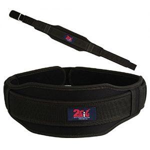 2Fit - Cinturón para levantamiento de pesas, con correa de neopreno para sujeción de la espalda, para entrenamiento de culturismo y fitness, unisex, mujer hombre, negro, small