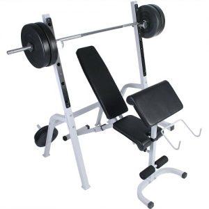 Physionics - Banco de musculación con soporte para pesas