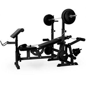 Klarfit KS02 banco de musculación multifunción (aparato de entrenamiento con cargas guiadas, banco de pesas, press de banca, remo, curler piernas, acero, peso máximo de 100 kg)