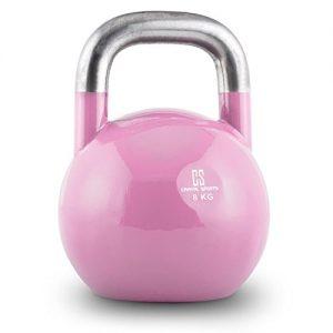 Capital Sports Compket 8 Pesa rusa de competición (8kg peso, bola de acero, mango suave, base alisada, adecuado para uso al aire libre, indicador de kilos, kettlebell color rosa)
