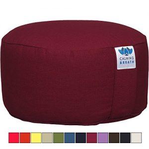 """CalmingBreath Cojín de meditación Zafu bio """"Yoga"""", funda lavable a máquina (Granate vino)"""