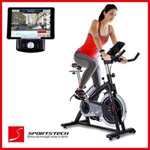 Sportstech SX200 bicicleta estática profesional con App control para Smartphone + Street View, disco inercia de 22Kg - Bicicleta estática de calidad profesional con sistema por correa de bajo ruido